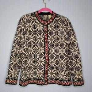 L.L. Bean Fair Isle Snowflake Button Down Sweater